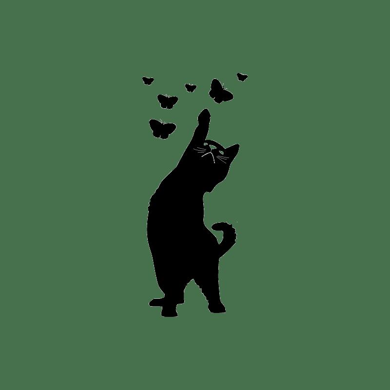 Stickers de salle de bain paroi de douche chat et papillons  Dcorcbo