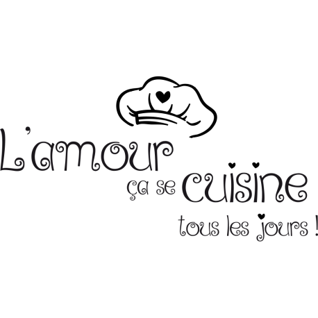 Sticker toque de cuisinier et textes citations de cuisine
