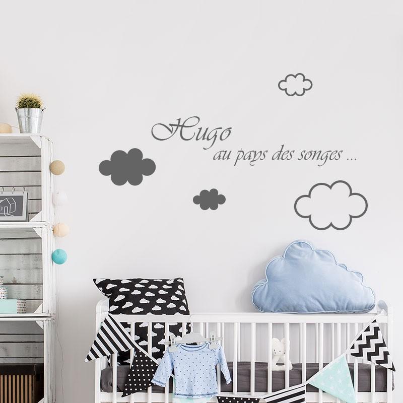 Stickers adhsifs filles ou garon personnaliss avec nuages  Dcorcbo