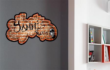 Stickers mural tag sur briques rouge  personnaliser chambre enfants