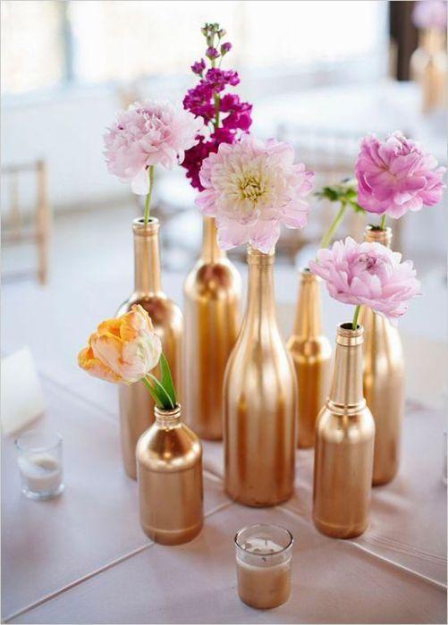 enfeite de mesa com garrafa pet