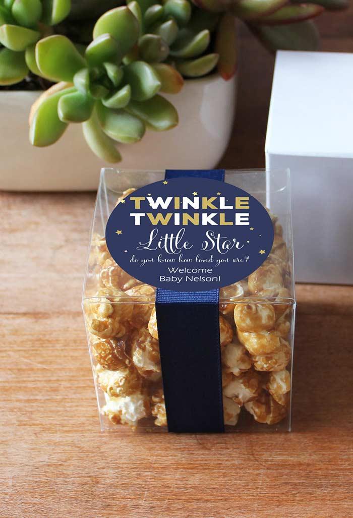 Pipocas doces em embalagens criativas