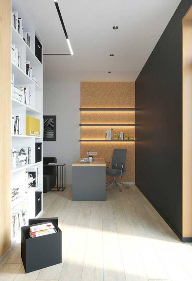 O home office fica mais aconchegante e charmoso com a fita de LED sob as prateleiras
