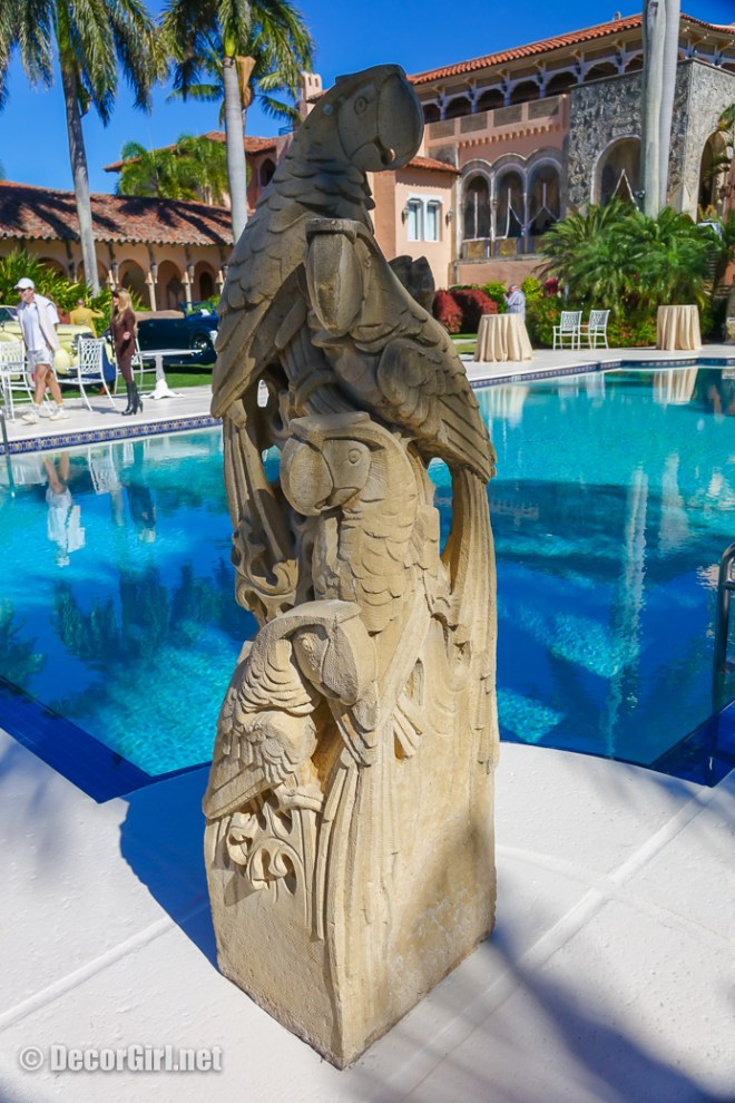 Carved parrots at Mar-A-Lago pool