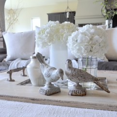 White Slipcovered Sofa Living Room Carpet Size For Spring Decor-birds, Branches, And Blossoms - Decor Gold ...