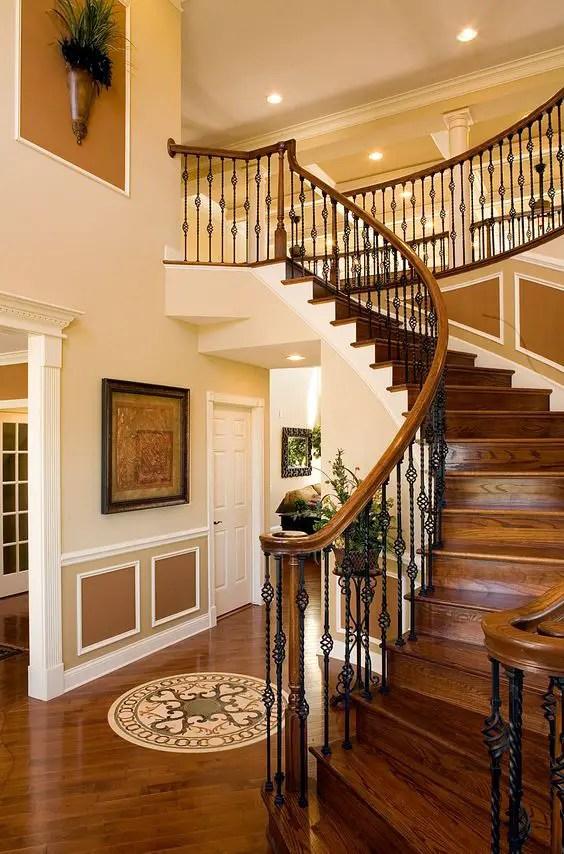 Cầu thang gỗ sẫm màu cổ điển # cầu thang # cầu thang # cầu thang # cầu thang # cầu thang #decorhomeideas