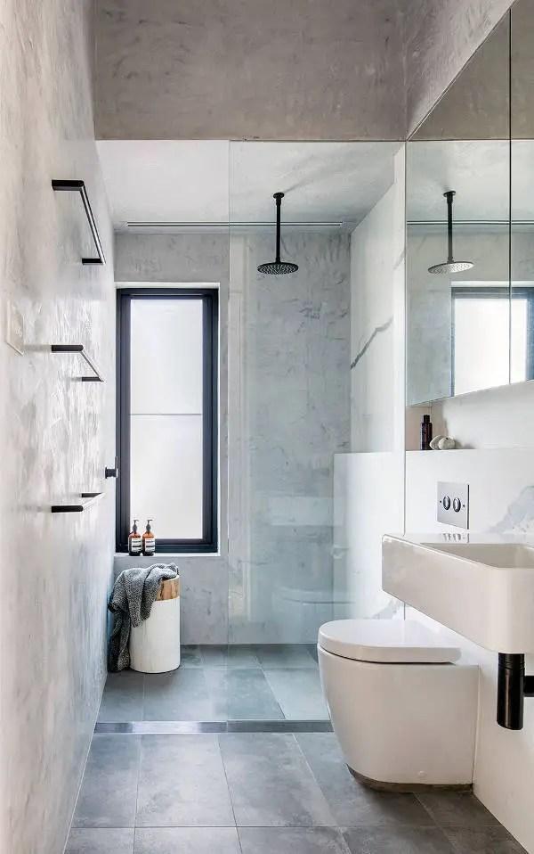 Phòng tắm hẹp hiện đại với gạch màu xám # phòng tắm # phòng tắm chung cư # phòng tắm hẹp #decorhomeideas