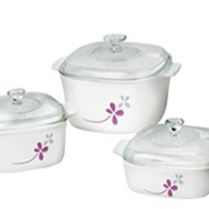 CorningWare 6pc Casserole Warm Pansies Set A-140-WP