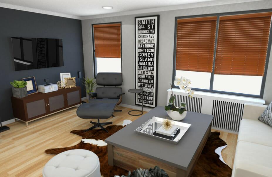 Before  After Modern Rustic Living Room Design Online