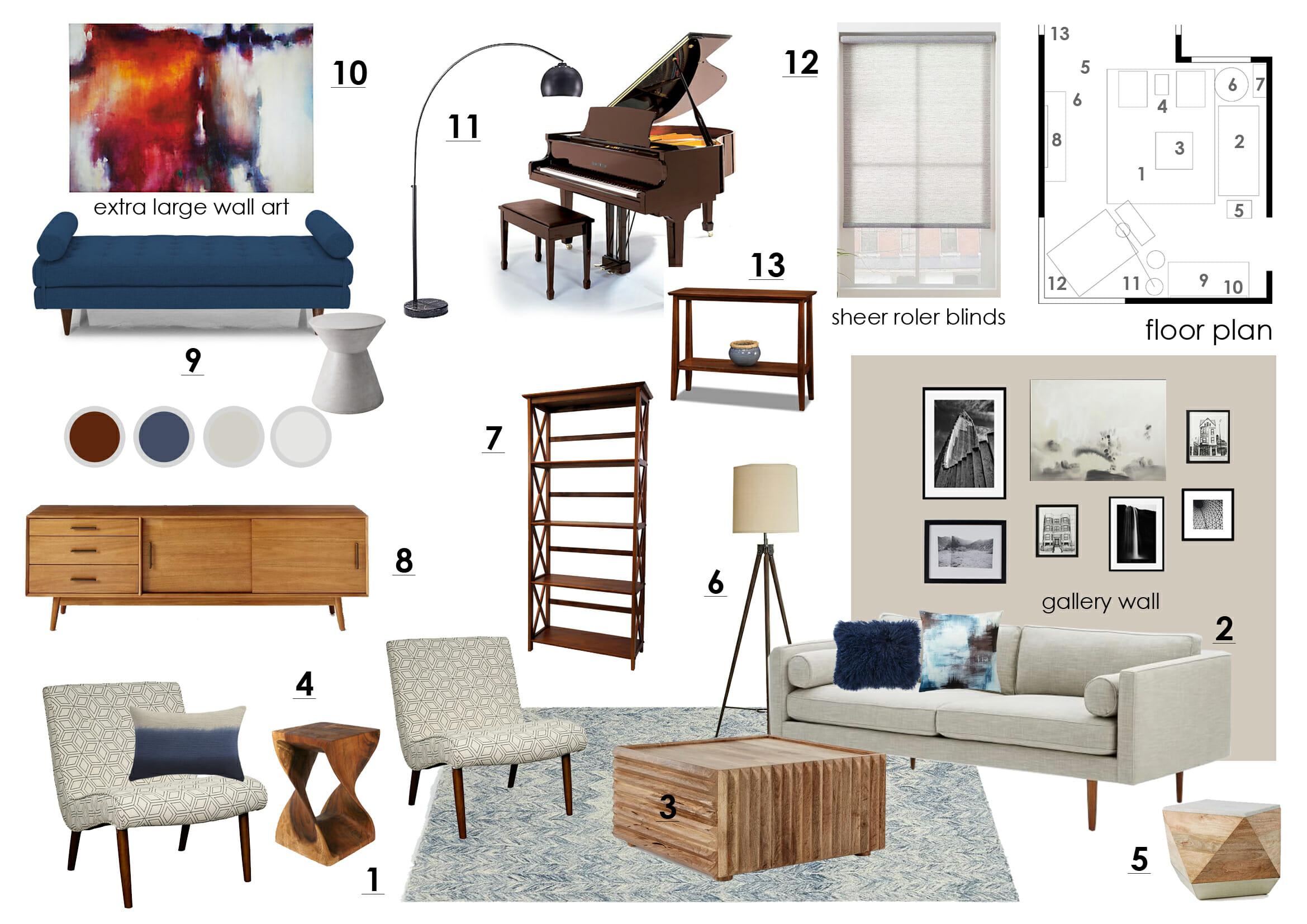 Online interior design living room moodboard  Decorilla