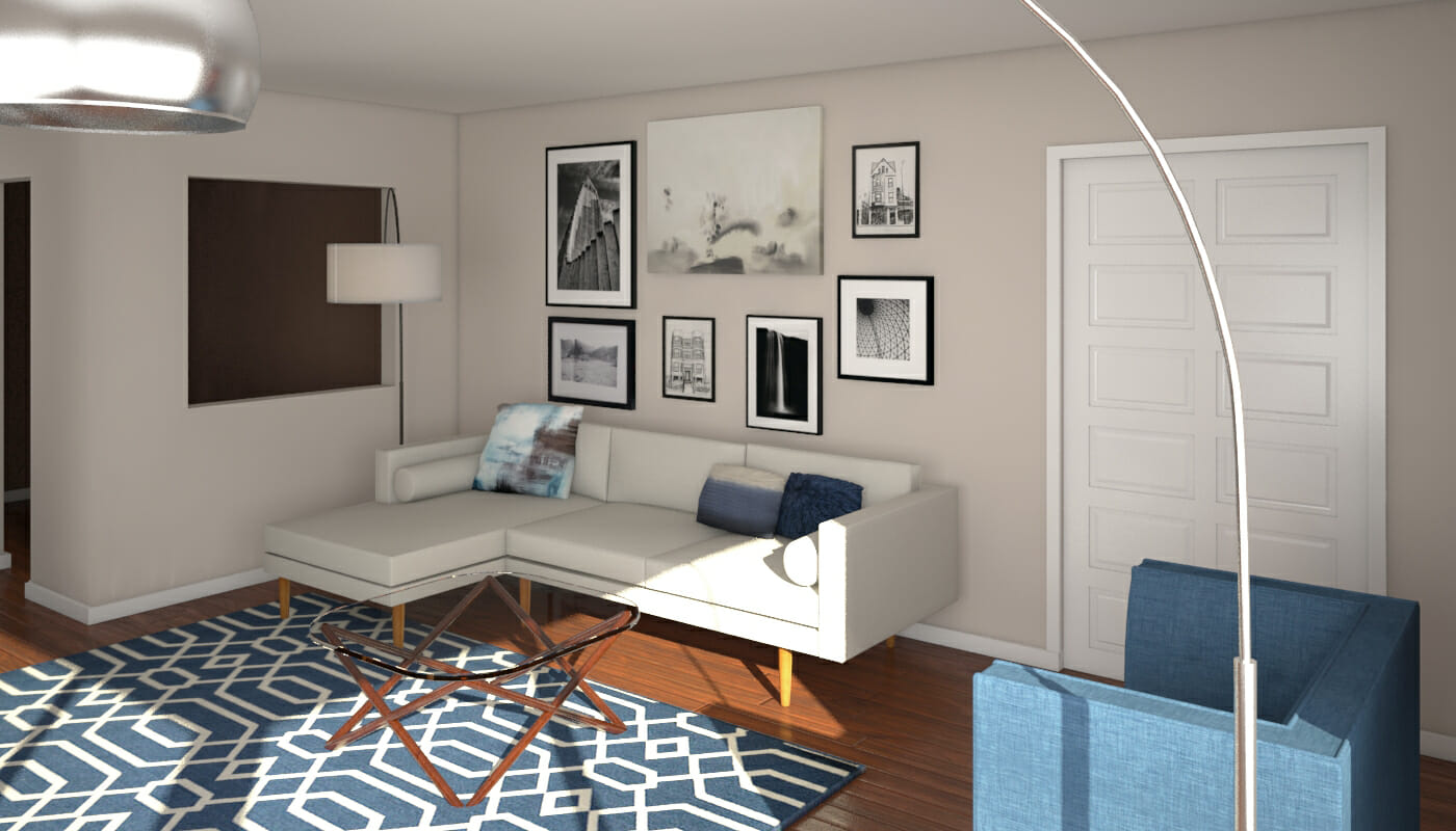 Before  After Mid Century Modern Living Room Design