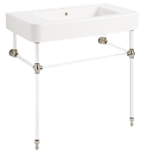 34 burleson porcelain console sink with acrylic stand polished brass polished brass