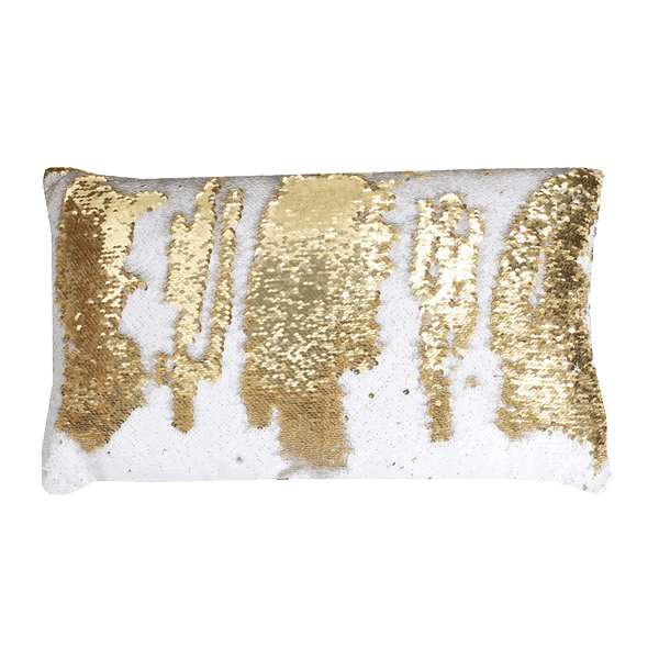 thro by marlo lorenz white and gold melody mermaid reversible sequin oblong throw pillow