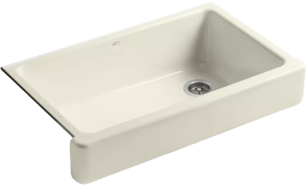 biscuit whitehaven 36 single basin undermount enameled cast iron kitchen sink with self trimming apron front