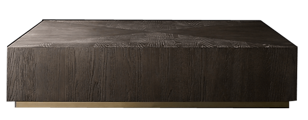 machinto square coffee table brown oak burnished brass 59 square