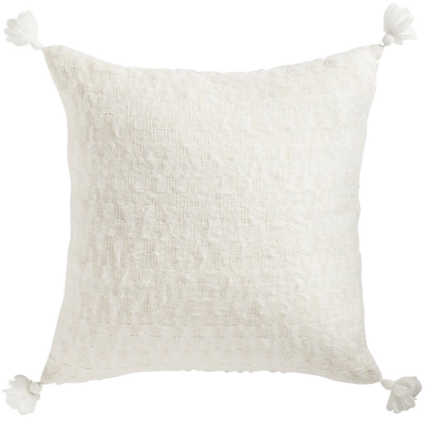 23 sven white tassel pillow with feather down insert