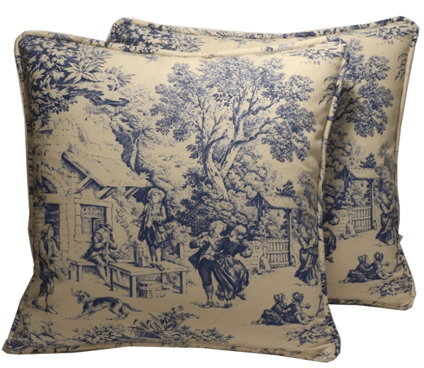 set of 2 18 toile throw pillow covers blue cream french country toile party designer throw pillow covers shabby chic decorative pillows