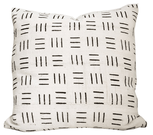 authentic mudcloth pillow cover cream and black 20 x20
