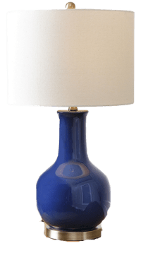 Gourd Navy Blue Ceramic Table Lamp