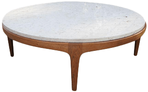 danish modern round stone top coffee table by lane