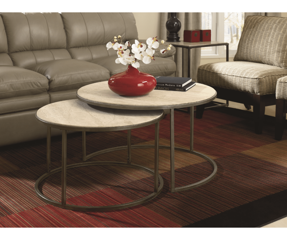 Quasar Set of Two Rnd Cocktail Nesting Tables  Decorium