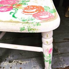 Painterly Rose on Little Chair