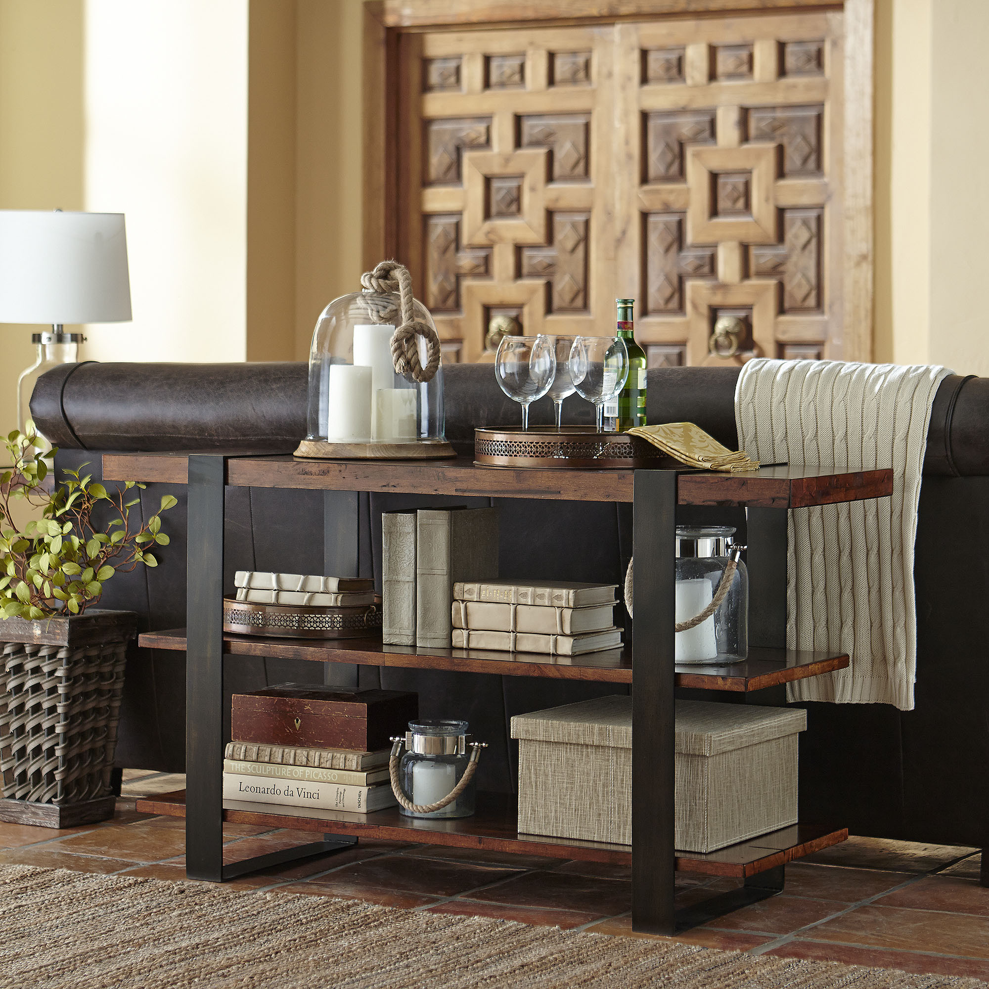 console table behind sofa decor ideas contemporary small sectional sofas pottery barn griffin reclaimed wood media | ...