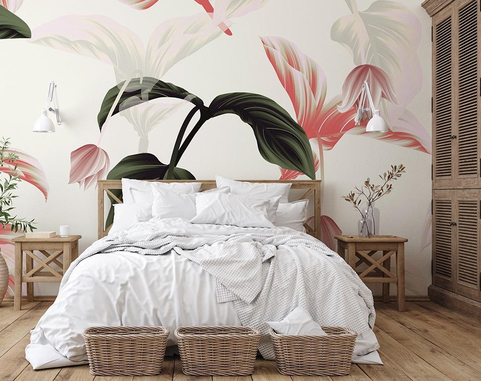 Fototapeta z kwiatami w sypialni, wzór Decor Mint