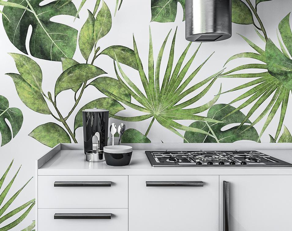 Roślinna tapeta na ścianę w kuchni