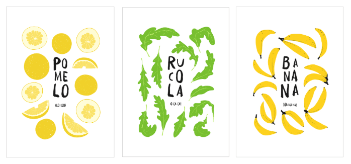 mieszkanie na lato owocowe plakaty