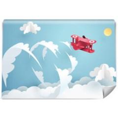 czerwony-samolot-na-niebie-fototapeta-do-pokoju-dziecięcego