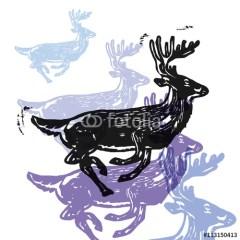 kolorowe-fioletowe-renifery-św-mikołaja-minimalistyczna-ilustracja
