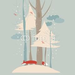 lis-w-śniegu-w-lesie-plakat-na-ścianę