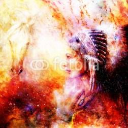 Indianka w pioropuszu - akwarela
