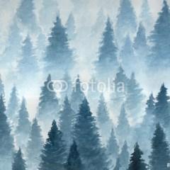 zimowy-las-we-mgle-plakat-samoprzylepny-w-stylu-skandynawskim