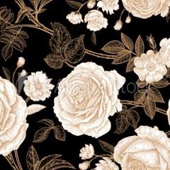 stare-zloto-fototapety-vintage-z-kwiatami