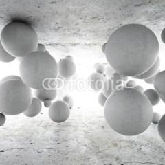 betonowe-wiszące-kule-fototapeta-3D