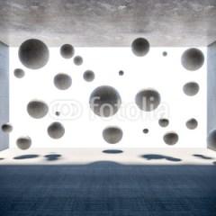 Betonowe kulki w pokoju
