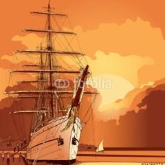 zaglowiec-na-morzu-ilustracja