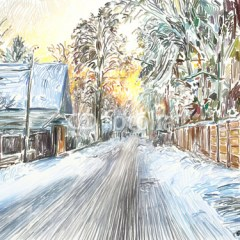malowana-piękna-zima-na-wsi