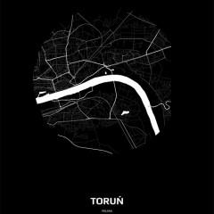 Mapa Torunia w kole czarno-biała