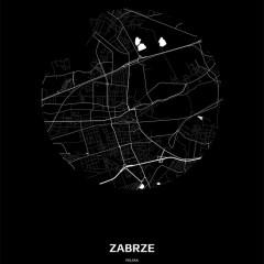 Mapa Zabrza w kole czarno-biała