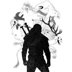 wiedzmin-czarno-biała-ilustracja