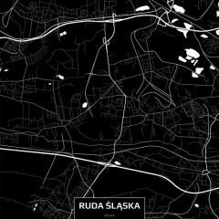 Mapa Rudy Śląskiej czarno-biała