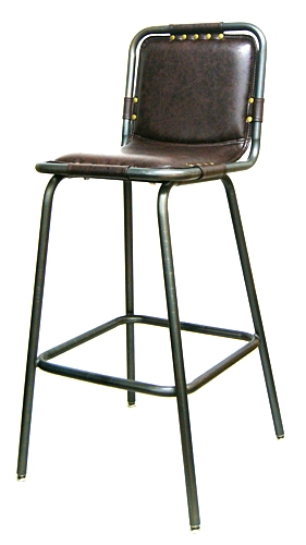 Padded Upholstered Industrial Metal Bar Stool