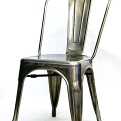 Pewter Chair Slipcover For Wing Industrial Metal