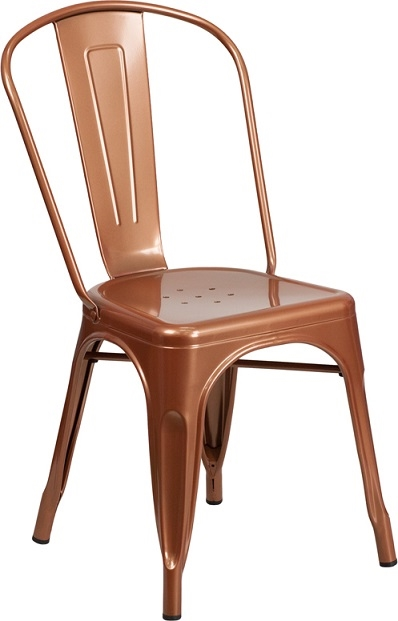 industrial bistro chairs booster or high chair copper metal dining