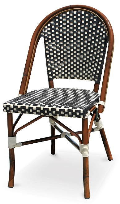 outdoor french bistro chairs step stool chair combination black & white rattan aluminum