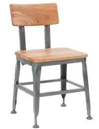 Industrial Metal Chair Wood Seat