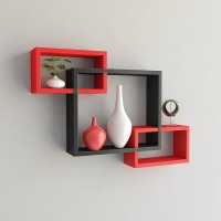 Set of 3 Rectangular Intersecting Floating Shelves Wall ...
